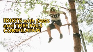 Chainsaw fails and idiots cutting trees. FAIL COMPILATION about how not to remove trees. Part 4