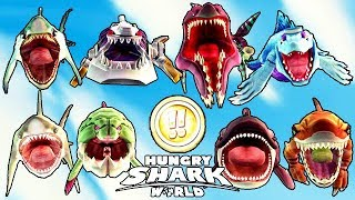 ALL !! SHARKS UNLOCKED (HUNGRY SHARK WORLD)