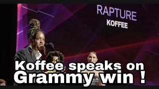 Koffee speaks on Grammy win | Tribute performance!