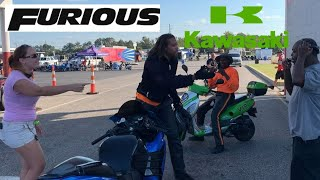 ENRAGED DRAG BIKE RACER MAKES U TURN ON TRACK AND RIDES UP THE WRONG WAY! ZX14 KZ DELAY BOX DEBATE!