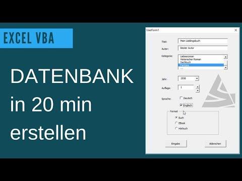 EXCEL VBA Datenbank erstellen / UserForm Grundlagen: Beispiel einer einfachen Datenbank