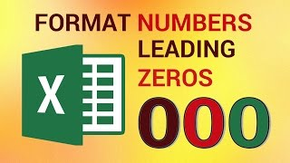 How to Format Numbers with Leading Zeros in Excel 2016