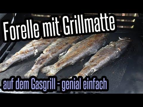 Forelle mit Grillmatte vom Gasgrill -  Fisch super lecker & einfach - Grillen für Jedermann