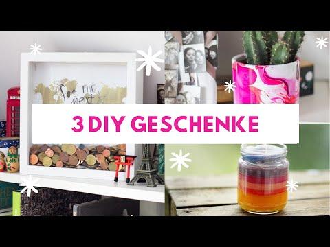 3  kreative DIY Geschenke für Weihnachten | Regenbogen-Kerze, Reise-Spardose und Marmor-Topf