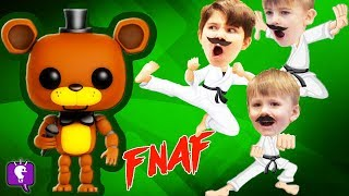 HobbyKarate vs FREDDY FNAF! SURRPISE TOYS Review with HobbyKidsTV