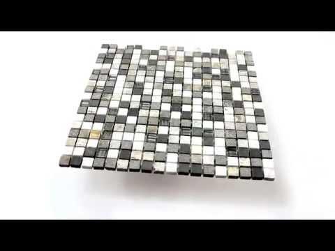 Dekorfliesen Glas Naturstein Mosaik Fliesen Isola Grau Braun