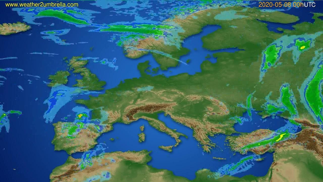 Radar forecast Europe // modelrun: 12h UTC 2020-05-07