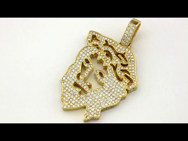 Diamond jesus head pendants in 14k yellow gold 550 ctw details aloadofball Choice Image