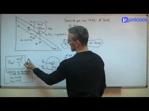 FISICA Rotación en un plano inclinado - Momento de inercia - unicoos