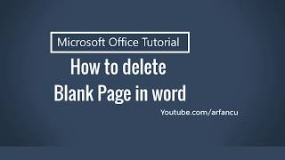 How to Delete an Unwanted Blank Page in Word   ms word 2013