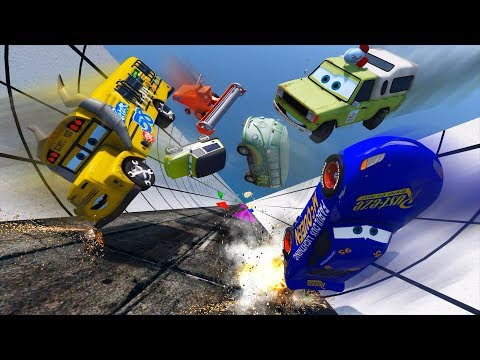 Crash Cars Fabulous McQueen Miss Fritter Todd Pizza Miles Axlerod And Friends Video For Kids
