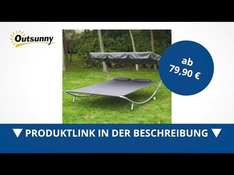 Outsunny Doppelliege grau 2er-Sonnenliege 2er-Gartenliege Duo-Relaxliege mit Kissen - direkt kaufen!