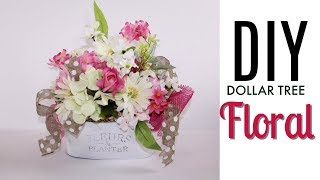 🌸DIY DOLLAR TREE SPRING FLORAL ARRANGEMENT 🌸 BEAUTIFUL DECOR ON A BUD
