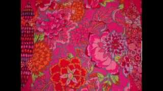 Pink Red Kaffe Fassett Fabric Sampler Quilt