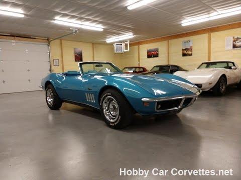 1969 LeMans Blue Corvette Stingray Convertible 4spd For Sale Video