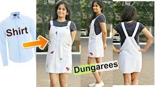 DIY: Convert Mens Shirts To Dungarees | Recycle Old Long Sleeve Shirts