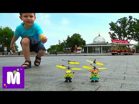 Фото Летающий миньон распаковка игрушки запускаем Unboxing flying Minion boy run it on