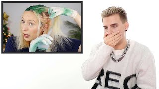 Hairdresser Reacts: Blonde To Green Hair Transformations