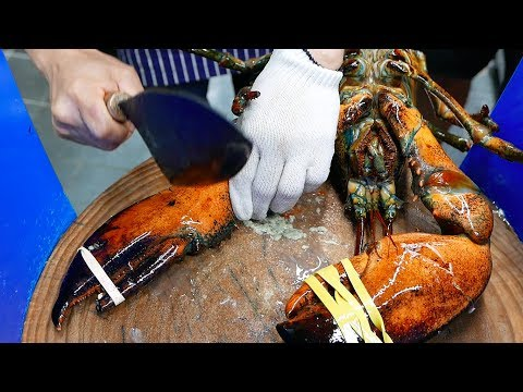 Korean Street Food - GIANT LOBSTER SASHIMI Chili Butter Korea