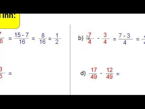 Toán 4 - Phép trừ phân số