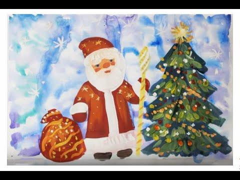 Как нарисовать Деда Мороза поэтапно. Видео уроки рисования для детей 5, 6, 7, 8 лет