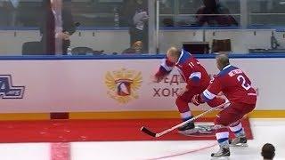 Vladimir Putin Falls After Ice Hockey Match