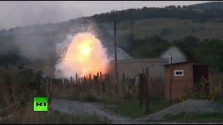 Видео с места проведения спецоперации по ликвидации боевиков в Ингушетии