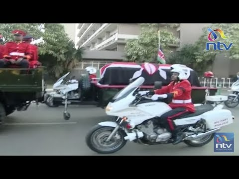 Late former President Daniel Moi's cortege leaves Lee funeral home for Parliament buildings