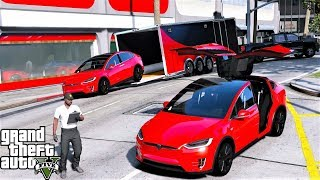 GTA 5 Real Life Mod #131 Delivering A Tesla Model X From The Tesla Car Dealership To The Customer