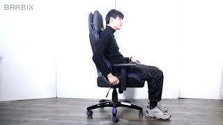 Кресло компьютерное BRABIX &laquo;GT Carbon GM-120&raquo;, две подушки, экокожа, черное/<wbr/>синее, 531930