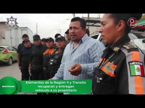 ELEMENTOS DE LA REGIÓN II Y TRANSITO RECUPERAN Y ENTREGAN VEHÍCULO A SU PROPIETARIO