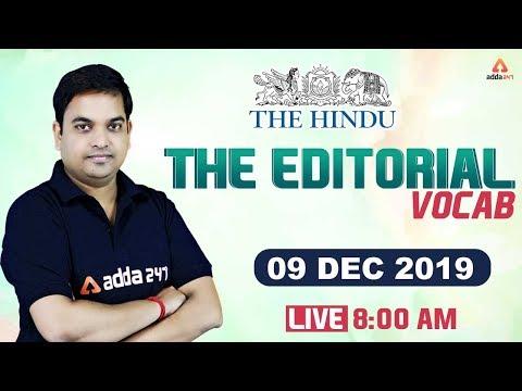 The HINDU Editorial | The Hindu Vocabulary 9 December 2019