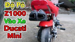 Lâm Vlog - Thay Bánh Xe và Độ Pô Zet-1000 vào Xe Moto Ducati Mini 50cc   Pocket Bike for Kids $150