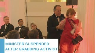 Tory MP Mark Field suspended as minister after grabbing female Greenpeace activist | 5 News