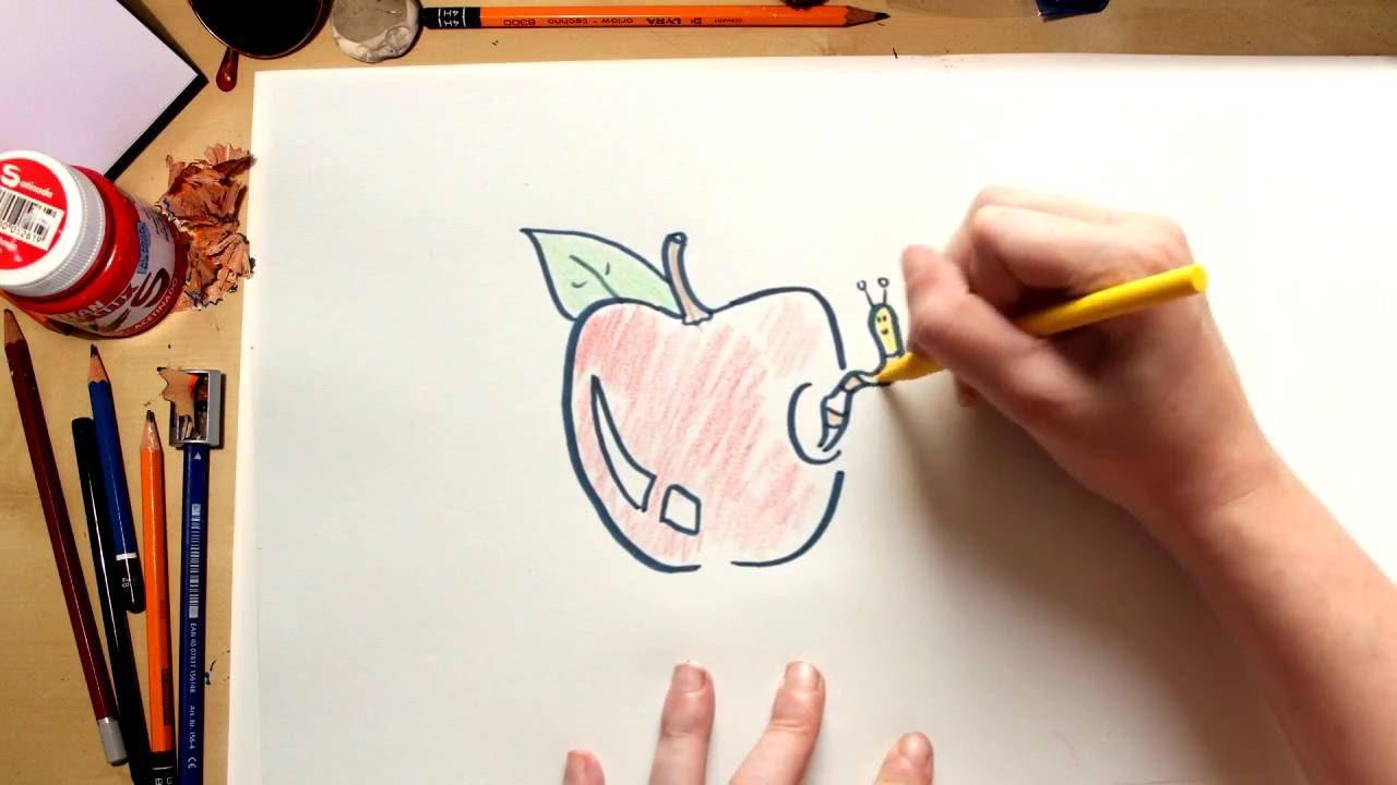 Como dibujar una Manzana - dibujos de frutas para niños