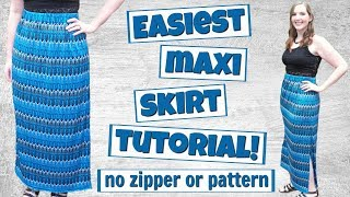 How To Make A Maxi Skirt With Elastic Waistband | Easy Sewing Projects For Beginners | DIY Skirt