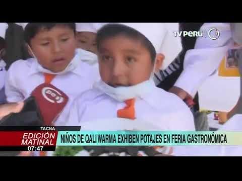 Niños de Qali Warma exhiben potajes en feria gastronómica en Tacna