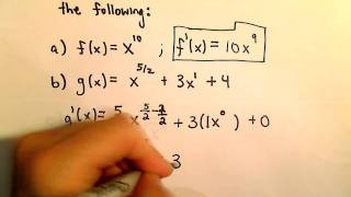 Basic Derivative Rules - The Shortcut Using the Power Rule
