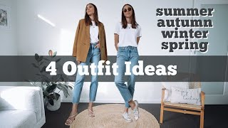 White Tshirt And Blue Jean Outfits For Every Season | 4 Outfit Ideas