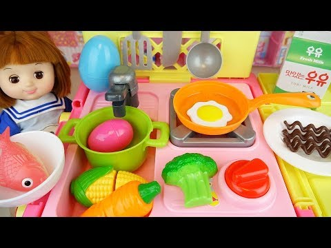 Baby Doli and Cart kitchen car toy baby doll food and surprise eggs play
