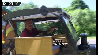 70yo German football fan heads to World Cup by 82yo tractor