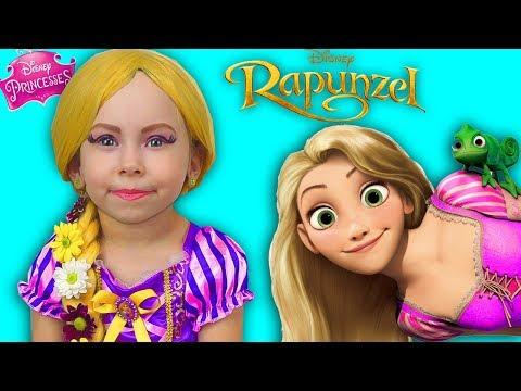Alice Becames to be a Princess Rapunzel and dress up Princess Dresses