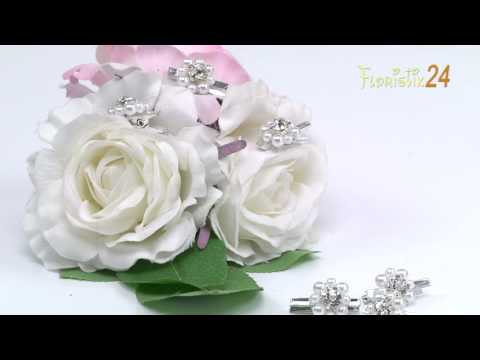 Floristik24 Deko Klammer mit Perlen-Blüte