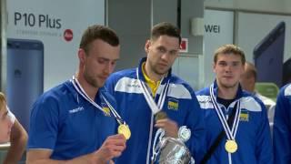 Волейбол. Встреча мужской сборной Украины после победы в Евролиге
