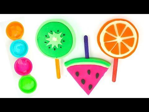 Пластилин для детей, учимся лепить фруктовые леденцы видео
