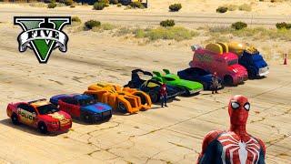 Spiderman vs Iron man speed test Who will be the winner ? GTA V mods