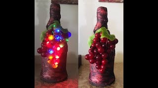 DIY Fabric Decoupage Wine Bottle And Decorate Them With Lighted Grapes