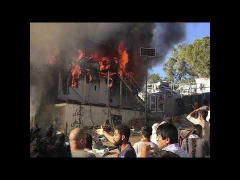مقتل غمراة وابنها في حريق في مخيم موريا على جزيرة ليسبوس اليونانية