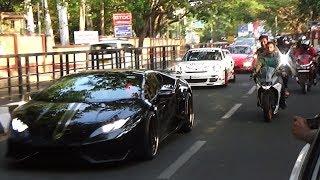 3 SUPERCARS CAUSES CHAOS IN INDIA (Bangalore) - Lamborghini & Porsche