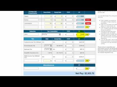 Esmart Paycheck Calculator Free Payroll Tax Calculator